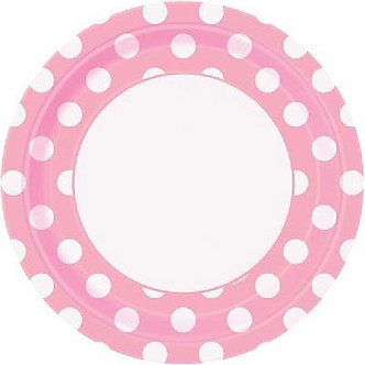 8PK 9IN LOVELY PINK DOTS PLATES