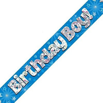 9FT B/DAY BOY BLUE HOLO BANNER
