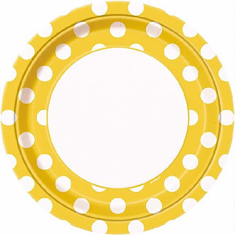 8PK 9IN SUNFLOWER YELLOW DOTS PLATES