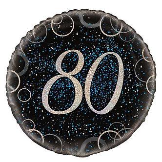 18IN BLUE PRISMATIC 80TH FOIL BALLOON