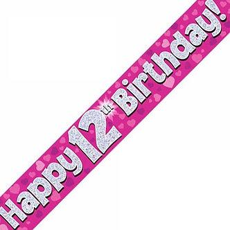 9FT 12TH BIRTHDAY PINK BANNER