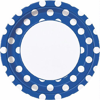 8PK 9IN ROYAL BLUE DOTS PLATES