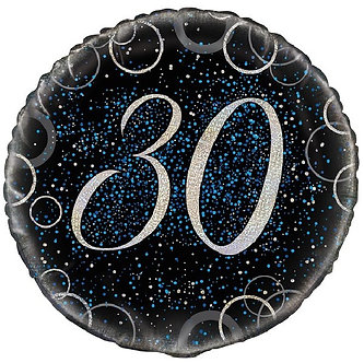 18IN BLUE PRISMATIC 30TH FOIL BALLOON