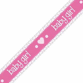 9FT ITS A GIRL PASTEL HEART BANNER
