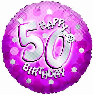 SPARKLE PINK 50TH 18IN FOIL BALLOON