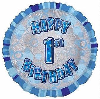 AGE 1 BLUE GLITZ 18IN FOIL BALLOON