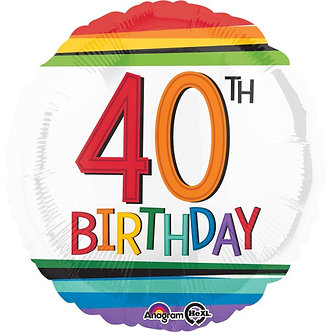 RAINBOW 40TH BIRTHDAY FOIL BALLOON