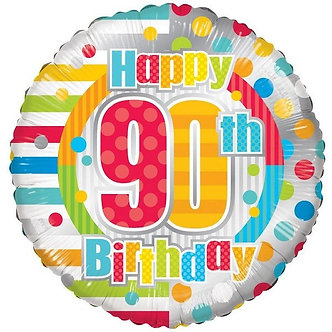 18IN UNISEX HAPPY 90TH BIRTHDAY FOIL