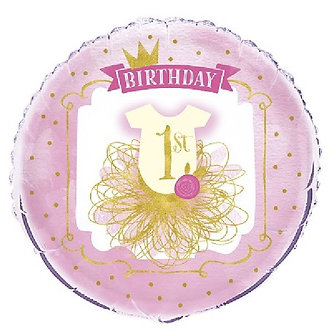 18IN PINK/GOLD 1ST B/DAY D FOIL BALLOON