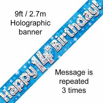 9FT 14TH BIRTHDAY BLUE BANNER