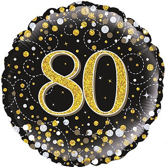 80TH SPARKLING FIZZ BLACK AND GOLD FOIL