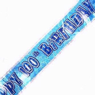 9FT BLUE GLITZ 100TH BANNER