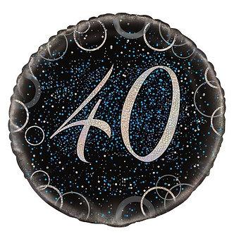 18IN BLUE PRISMATIC 40TH FOIL BALLOON