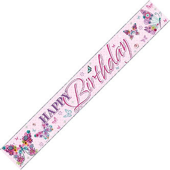 9FT HAPPY B/DAY BUTTERFLIES WALL BANNER