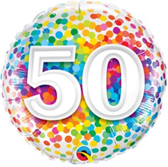 18IN 50TH RAINBOW CONFETTI FOIL BALLOON