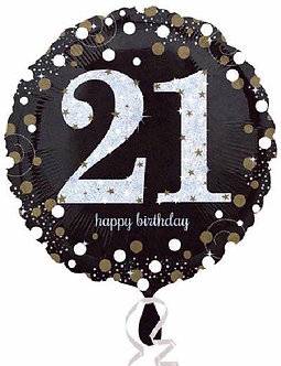 21ST GOLD SPARKLES 18IN FOIL BALLOON