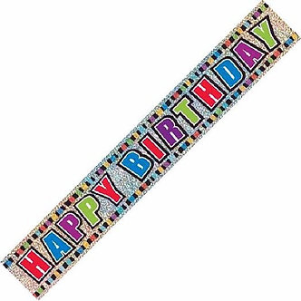 12FT B/DAY COLOURS PRISMATIC BANNER