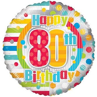 18IN UNISEX HAPPY 80TH BIRTHDAY FOIL