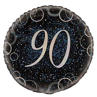 18IN BLUE PRISMATIC 90TH FOIL BALLOON
