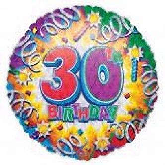 18IN 30TH BIRTHDAY FOIL BALLOON