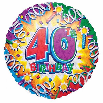 18IN 40TH B/DAY FOIL BALLOON
