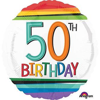 RAINBOW 50TH BIRTHDAY FOIL BALLOON