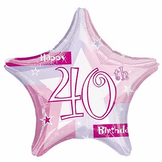 19IN PINK SHIMMER 40TH FOIL BALLOON