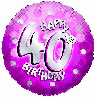 SPARKLE PINK 40TH 18IN FOIL BALLOON