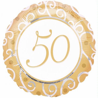 18IN GOLDEN ANNIVERSARY FOIL BALLOON