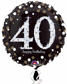 40TH GOLD SPARKLES 18IN FOIL BALLOON
