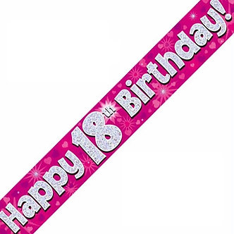 9FT 18TH BIRTHDAY PINK BANNER