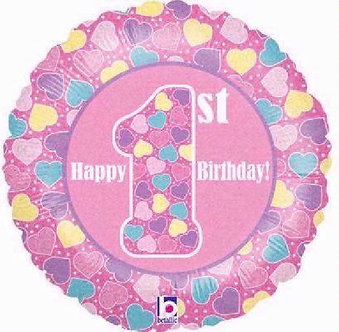 1ST B/DAY GIRL HOLO 18IN FOIL BALLOON