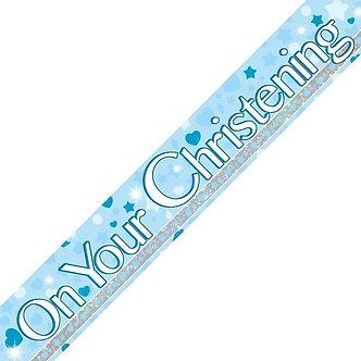 9FT BLUE DOTS CHRISTENING BANNER