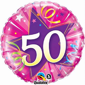 50TH B/DAY PINK 18IN FOIL BALLOON