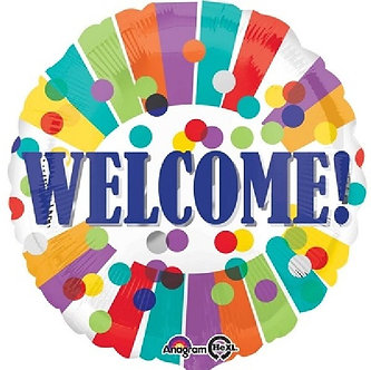 WELCOME DOTS & STRIPES 18IN FOIL