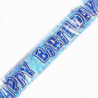 9FT BLUE GLITZ B/DAY FOIL BANNER
