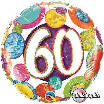 18IN HOLOGRAPHIC 60TH BIG DOTS & GLITZ FOIL