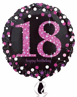 18TH PINK SPARKLES 18IN FOIL BALLOON