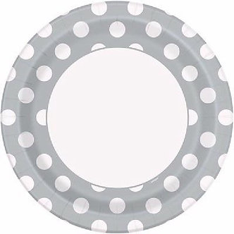 8PK 9IN SILVER DOTS PLATES