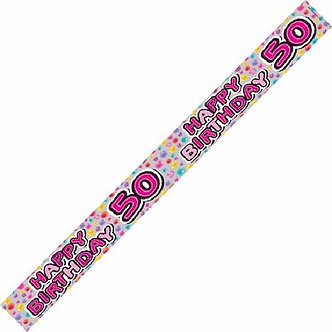 50TH SILVER PIZZAZZ 9FT BANNER