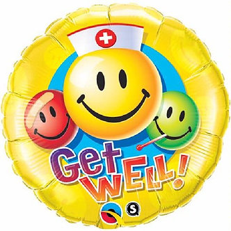 GET WELL SMILEY FACES 18IN FOIL BALLOON