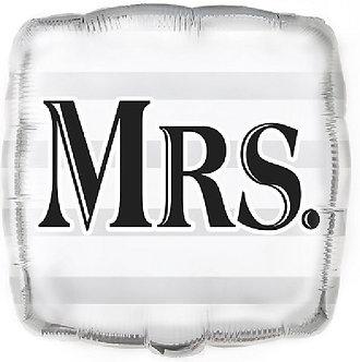 18IN SILVER MRS WEDDING SQ FOIL BALLOON