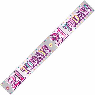 HAPPY 21ST PINK 9FT BANNER