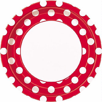 8PK 9IN RUBY RED DOTS PLATES