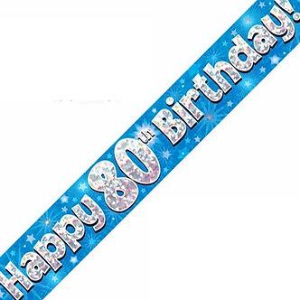 9FT 80TH BIRTHDAY BLUE BANNER