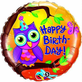 18IN BIRTHDAY OWL FOIL BALLOON
