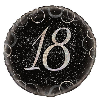 18IN BLACK PRISMATIC 18TH FOIL BALLOON