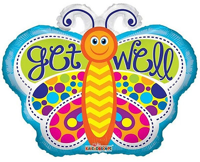 18IN GET WELL BUTTERFLY SHAPE FOIL
