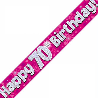 9FT 70TH BIRTHDAY PINK BANNER