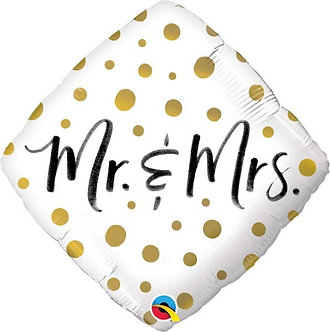 MR. & MRS. GOLD DOTS 18IN FOIL BALLOON